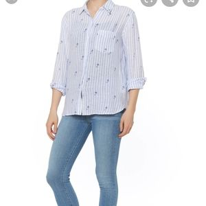 Rails Linen Mermaid Button Down Shirt Small